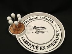 Cheese Platter w/ 6 Picks Round Porcelain Ciroa Salle Des Fromages 12 1/2 x 11  #Ciroa