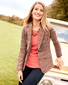 The best fall blazers go everywhere. | Talbots Fall Outfits Fall Blazer, Fall Outfits, Fashion Outfits, Classic Style Women, Fall Collections, Autumn Winter Fashion, Winter Style, My Wardrobe, Timeless Fashion