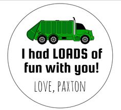 Garbage truck invitation kids birthday invitation truck invite 12 garbage truck stickers truck stickers garbage birthday green truck goodie bag labels garbage party loads of fun labels birthday filmwisefo Image collections