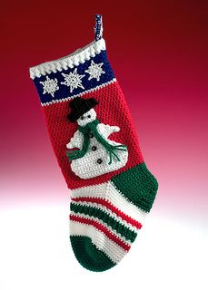 Snowman Stocking free crochet pattern