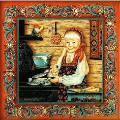 """Norwegian Rosemaling Trivet Tile """"Krumkake Girl"""" 6"""" x 6"""" S. Toftey Cork Back"""