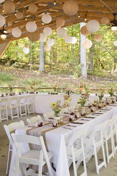 A beautiful set up under the pavilion...burlap and lace