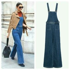 Zara Woman Indigo Blue Denim Dungarees overalls S New w tags. Size small. Zara Pants Jumpsuits & Rompers