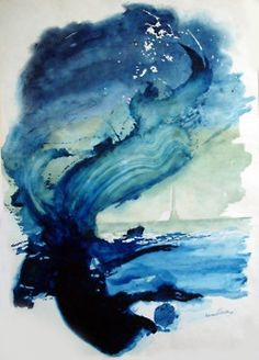 Contemporary art - a blue abstract ink painting from Tattered Feather. #abstractart #contemporaryart