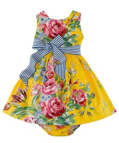 NWT Ralph Lauren Baby Girls Belted Sleeveless Floral Dress  #RalphLauren #DressyHolidayPageantWedding
