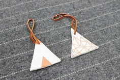 Geometric Triangle Ornament  Copper Leaf and White by alivingspace