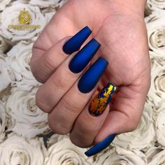 Royal Blue Nails With Gold Foil ❤️Coffin Nails Ideas For Enchanting Look ❤️ See more: https://naildesignsjournal.com/coffin-nails-exciting-ideas/ #naildesignsjournal #nails #nailart #naildesigns