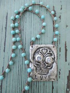 Sugar skull crochet necklace  Love Me  turquoise by slashKnots, $72.00