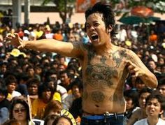 In Thailand, they belive in the power of animal like lion, monkey, tiger and etc. They belive that tattoo of those picture on their  body can help them have a power.