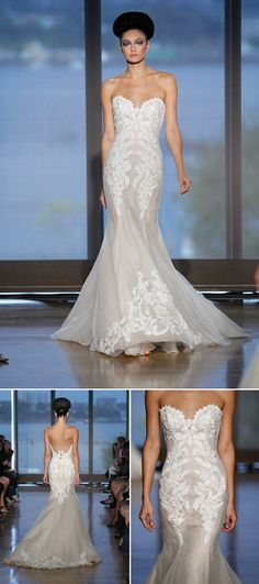 Ines Di Santo wedding dress with beautiful open back detail from fall 2014 bridal market | via junebugweddings.com