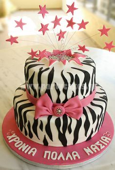 Two-tier zebra print and hot pink cake by Party Cakes Pink Zebra Cakes, Hot Pink Cakes, Pink Cake Pops, Just Cakes, Cakes And More, Torta Zebra, Beautiful Cakes, Amazing Cakes, Leopard Cake