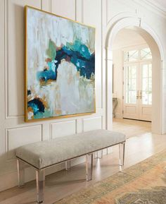 Hand Painted Large Original Painting, Abstract Art, Acrylic Painting on Canvas, XL large Canvas Art. Custom Extra Large Painting Green, Blue