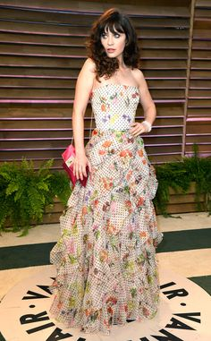 Cute & Colorful from Zooey Deschanel's Best Looks  The actress attends the 2014 Vanity Fair Oscar Party.