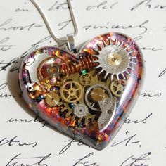 STEAMPUNK HEART NECKLACE PENDANT OPAL GEARS COGS STERLING SILVER RESIN HAND MADE