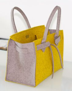 ArtAK KUNST Bag. Wool felt bag inspired by the famous Hermes Birkin Bag. Made to order. Monogram Bag. Personalized bag.