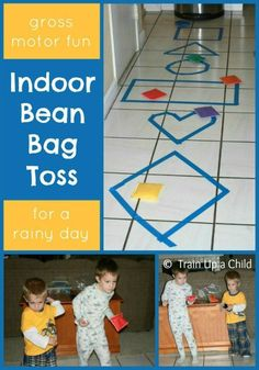 Shape Toss {Indoor Gross Motor Game} A fun game for any age that incorporates shapes and gross motor skills.  It takes less than five minutes to set up and provides countless hours of fun.