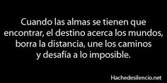 ... Cuando las almas se tienen que encontrar, el destino acerca los mundos, borra la distancia, une los caminos, y desafía a lo imposible. Hachedesilencio.com