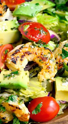 Shrimp and Avocado Taco Salad ~ Light and refreshing with a shrimp marinade that doubles as the salad dressing!