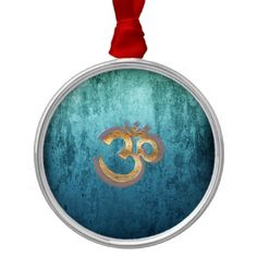OM blue brass gold damask Asia Yoga Spiritualität Metal Ornament