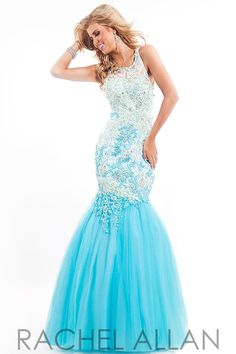 Mermaid prom dress with multi-color floral applique and a soft tulle skirt by Rachel Allen