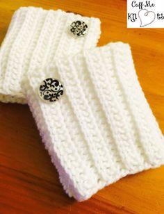 Women's White Boot Cuffs Handmade Crochet with by CuffMeKnots