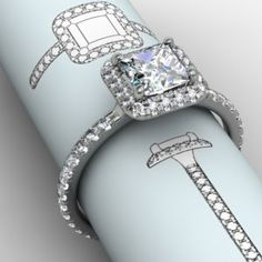 Princess Cut Halo Ring with French set diamond Shank   Then there is always classic... #jewelryworks #engagement