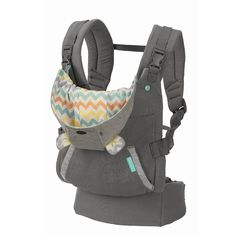 "This ergonomic carrier features a unique arched canopy hood that keeps baby in full sight and happily covered. The wide, ergonomic seat supports baby's hips in the ""M"" position. Baby is supported from"