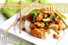 Sweet & Sour Citrus Chicken Stir-Fry   Recipe adapted by Our Best Bites from this recipe by Alice Currah