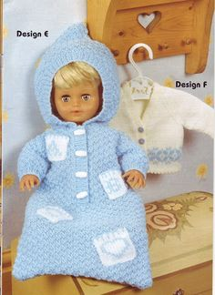 Vintage Knitting Pattern PDF Dolls Clothes Eight Outfits Sleeping Bag Cocoon Premature Baby Reborn Dolls Knitting Dolls Clothes, Baby Doll Clothes, Crochet Doll Clothes, Knitted Dolls, Doll Clothes Patterns, Doll Patterns, Baby Dolls, Reborn Dolls, Vintage Patterns