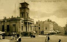 Worthing town hall and Warwick street. West Sussex early 1900s