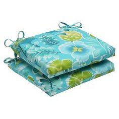 Pillow Perfect™ Calypso 2 Piece Squared Edge Seat Cushion Set   Green