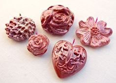 Handmade Rustic Heart and Flower Pendants - Jewellery Making Supplies - Set of 5 £4.50