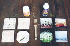 DIY travel photos onto tiles to make coasters! Diy Craft Projects, Fun Crafts, Picture Coasters, Diy Coasters, Personalized Coasters, How To Make Diy, Diy Photo, Photos, Wall Art