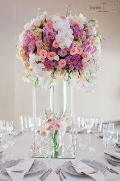 Soft Pink Hydrangeas Roses And Orchids Silver Decor Wedding Clic Beautiful