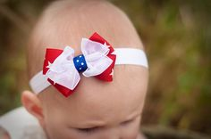Adorable star ribbon. 4th of July Baby Headband Boutique Bow by KinleyKate