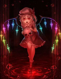 Touhou Project- Flandre Scarlet artwork by munuu Demon Wings, Bobby Socks, Demon Wolf, Puffy Eyes, Red Eyes, Demon Girl, Cute Anime Pics, Picture Search, Manga Pictures