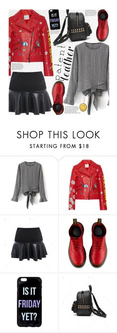 """""""City Slickers: Patent Leather (school style)"""" by beebeely-look ❤ liked on Polyvore featuring Mira Mikati, Dr. Martens, Anya Hindmarch, StreetStyle, patentleather, gingham, leatherskirt and twinkledeals"""