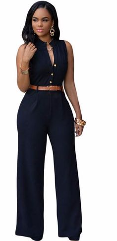5395fcc3d51 Sexy Women Plus Size Belted Wide Leg Women Jumpsuit Romper Overalls Trousers