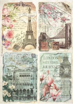 Rice Paper for Decoupage, Scrapbook Sheet, Craft Paper Vintage Postcards