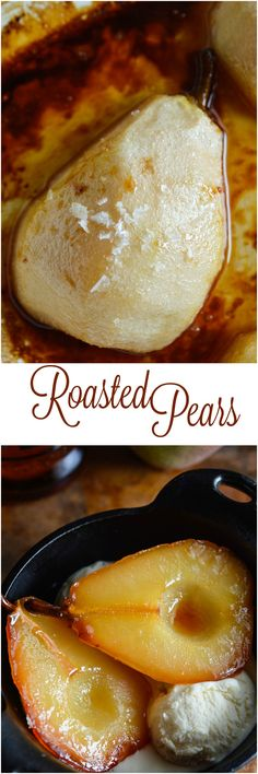 Tuaca and Cider Roasted Pears are a fantastic Fall dessert! This easy recipe is impressive and full of flavor! ad #pears #fall #dessert wonkywonderful.com