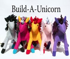 Build-A-Unicorn Fantastical Handmade-to-Order Eco Felt Stuffed Unicorn, Custom Plush Fantasy Toy, Stuffed Animal, Personalized Girls Gift Sewing Stuffed Animals, Stuffed Toys Patterns, Felt Crafts, Diy Crafts, Handmade Toys, Girl Gifts, Plushies, Pet Toys, Gifts For Kids