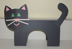 black construction paper cat for Halloween.  Template included