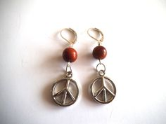 Peace Sign Earrings, Organic Earrings, Organic Jewelry, Brown & Silver, Vegan Jewelry, Eco-Friendly Jewelry, Anti-War Earrings by TerriJeansAdornments on Etsy