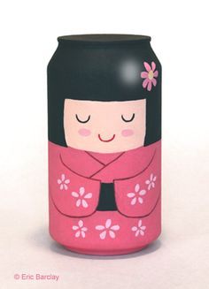 Eric Barclay turns every day recycle-ables into beautiful art. Super huge fan of the Kokeshi painting!