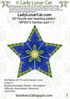 FREE Peyote star beading patterns Gentian by Lady Lunar Cat Peyote Beading Patterns, Peyote Stitch Patterns, Bead Crochet Patterns, Bead Crochet Rope, Beaded Bracelet Patterns, Loom Beading, Weaving Patterns, Knitting Patterns, Stars