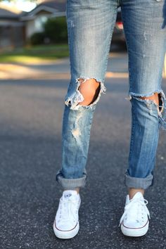 Ripped denim + all white Converse