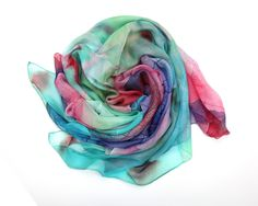 """Bear Motion Collection - Womens 100% Silk Scarf - 43"""" X 70"""" Large Pure Slik Luxury Scarf (Large 43"""" X 70"""", Color Code 65) at Amazon Women's Clothing store:"""