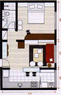 Small apartment studio layout: I'd switch the sitting area with the bed. Small apartment studio layout: I'd switch the sitting area with the bed. was last modified: January Small Room Design, Tiny House Design, Design Room, Apartment Layout, Apartment Design, Studio Apartment, Bedroom Apartment, Metal Building Homes, Building A House