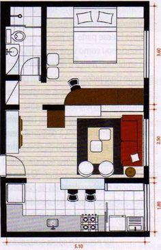 PLANO DE VIVIENDA CON UN SOLO DORMITORIO : Planos de casas y departamentos gratis