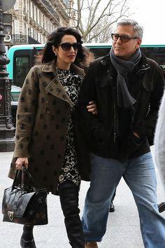 Amal s manželem Georgem Clooneym v polovině února v Paříži